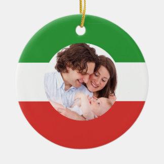 Ornamento de encargo del navidad de la foto de la adorno navideño redondo de cerámica