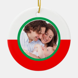Ornamento de encargo del navidad de la foto de la adorno redondo de cerámica