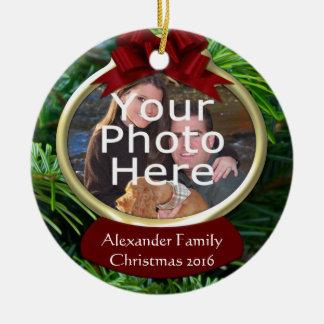 Ornamento de encargo del navidad de la foto del adorno navideño redondo de cerámica