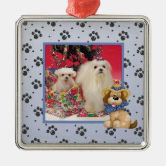 Ornamento de encargo del navidad de la foto del adorno cuadrado plateado