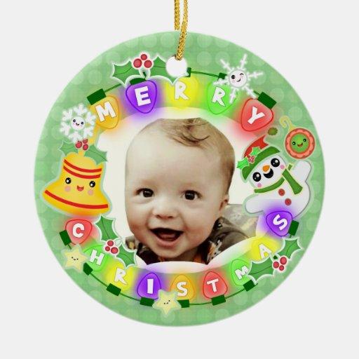Ornamento de encargo del navidad de la foto y del ornamentos de reyes
