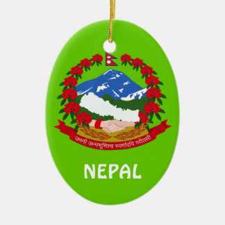 Ornamento de encargo del navidad de NEPAL* Adorno Navideño Ovalado De Cerámica