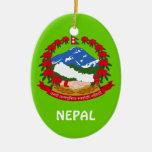 Ornamento de encargo del navidad de NEPAL* Adorno Ovalado De Cerámica