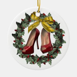 Ornamento de encargo del navidad del estilete de adorno navideño redondo de cerámica