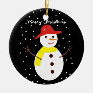 Ornamento de encargo del navidad del muñeco de adorno navideño redondo de cerámica