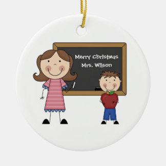 Ornamento de encargo del navidad del profesor adorno navideño redondo de cerámica