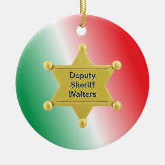 Ornamento de encargo del navidad del sheriff adorno navideño redondo de cerámica