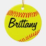 Ornamento de encargo del navidad del softball adorno navideño redondo de cerámica