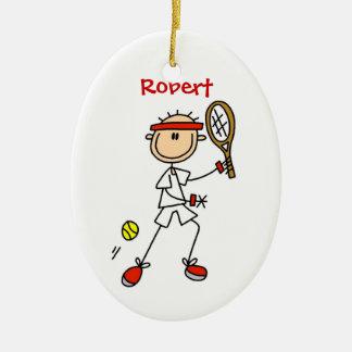 Ornamento de encargo del navidad del tenis adorno navideño ovalado de cerámica