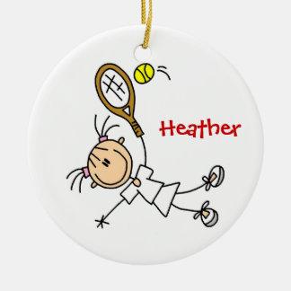 Ornamento de encargo del navidad del tenis adorno navideño redondo de cerámica