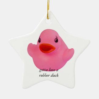 Ornamento de encargo del pato de la diversión adorno navideño de cerámica en forma de estrella
