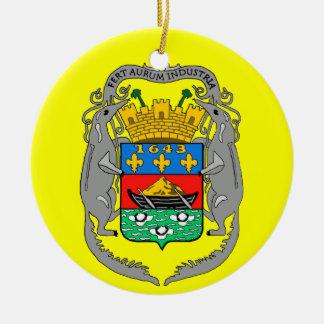 Ornamento de encargo FRANCÉS del navidad de Adorno Redondo De Cerámica
