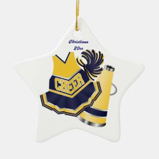 Ornamento de encargo que anima azul y amarillo adorno navideño de cerámica en forma de estrella