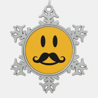 Ornamento de encargo sonriente del bigote feliz adorno de peltre en forma de copo de nieve