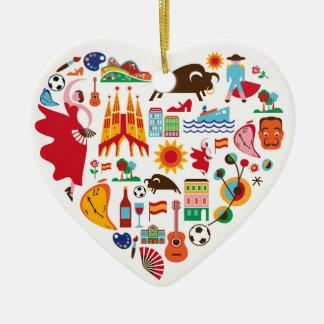 Ornamento de España - SRF Adorno Navideño De Cerámica En Forma De Corazón