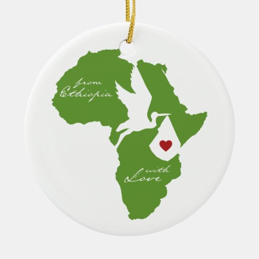 Ornamento de Etiopía de la cigüeña de la adopción Adorno Navideño Redondo De Cerámica