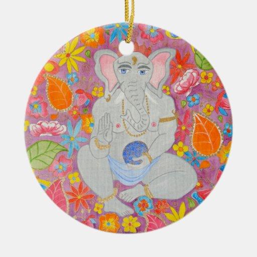 Ornamento de Ganesh Adorno Navideño Redondo De Cerámica