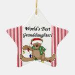 Ornamento de Granddauther del mundo del oso de pel Adornos