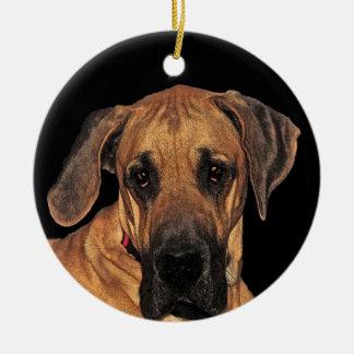 Ornamento de great dane adorno navideño redondo de cerámica