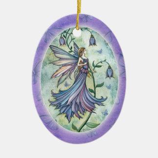 Ornamento de hadas azul de la mañana adorno navideño ovalado de cerámica