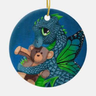 Ornamento de hadas de la diversión del dragón del adorno navideño redondo de cerámica