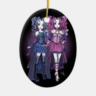 Ornamento de hadas de los amigos de las costuras adorno navideño ovalado de cerámica