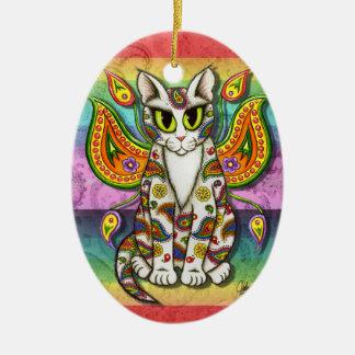 Ornamento de hadas del arte de la fantasía del adorno navideño ovalado de cerámica