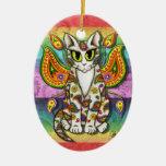 Ornamento de hadas del arte de la fantasía del gat adornos de navidad