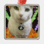 Ornamento de hadas del cuadrado del gato ornamento para arbol de navidad