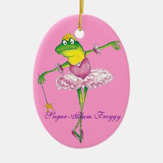 Ornamento de hadas del Froggy del ciruelo del Adorno Ovalado De Cerámica