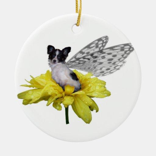 Ornamento de hadas del perro de Papillon Adorno Navideño Redondo De Cerámica