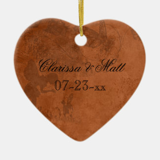 Ornamento de hadas del recuerdo del corazón del adorno navideño de cerámica en forma de corazón