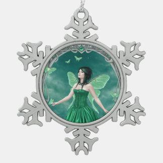 Ornamento de hadas esmeralda del copo de nieve de adorno de peltre en forma de copo de nieve
