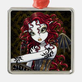 Ornamento de hadas gótico de la fantasía del rosa adorno navideño cuadrado de metal