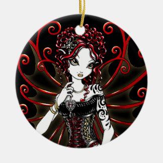 Ornamento de hadas rojo de las costuras góticas de adorno navideño redondo de cerámica