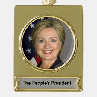 Ornamento de Hillary Clinton Adornos Navideños Dorados