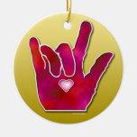 Ornamento de ILY ASL TE AMO Adorno Redondo De Cerámica