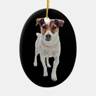 Ornamento de Jack Russell Terrier Adorno Navideño Ovalado De Cerámica