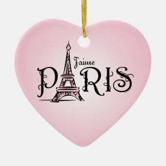 Ornamento de J'aime París Adorno De Cerámica En Forma De Corazón