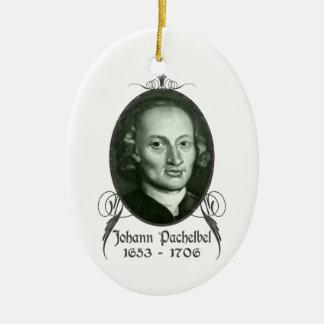 Ornamento de Johann Pachelbel Adorno Navideño Ovalado De Cerámica