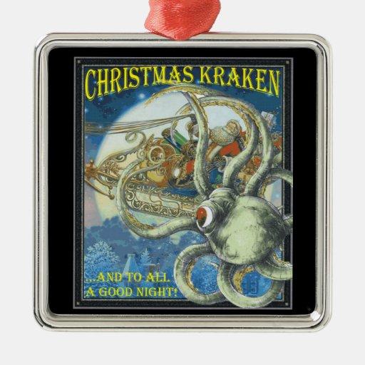 Ornamento de Kracken del navidad Adorno Navideño Cuadrado De Metal