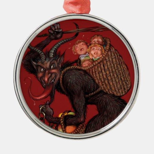 Ornamento de Krampus Adorno Navideño Redondo De Metal