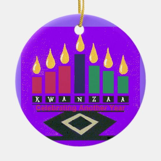 Ornamento de KWANZAA Adorno Navideño Redondo De Cerámica