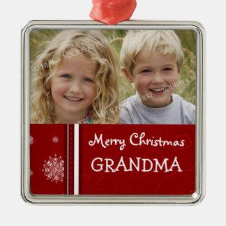 Ornamento de la abuela de las Felices Navidad de Adorno Navideño Cuadrado De Metal