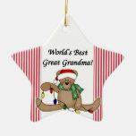 Ornamento de la abuela del mundo del oso de peluch ornamentos para reyes magos