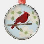 Ornamento de la acuarela del cardenal y del adorno redondo plateado