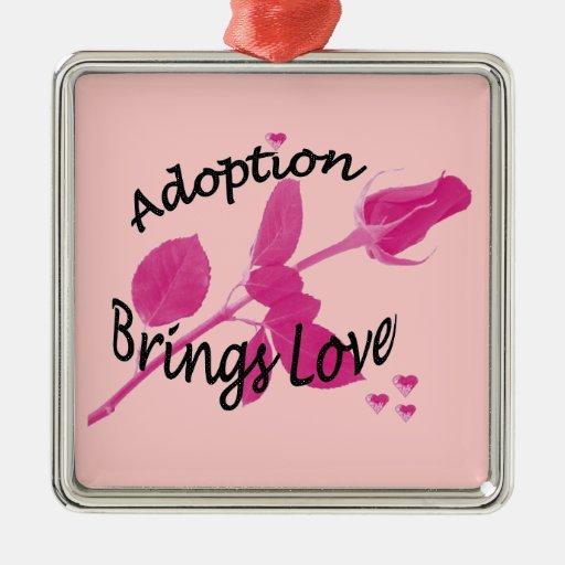 Ornamento de la adopción adorno navideño cuadrado de metal