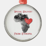 Ornamento de la adopción de Etiopía Adorno Navideño Redondo De Metal