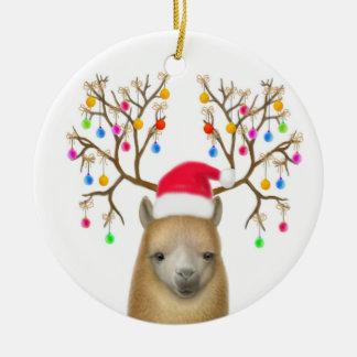 Ornamento de la alpaca de las Felices Navidad Adorno Navideño Redondo De Cerámica