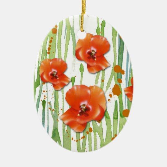 Ornamento de la amapola adorno navideño ovalado de cerámica